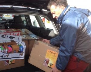 Harry unloading textbooks