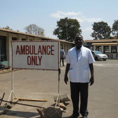 Stanley Daudi outside the hospital